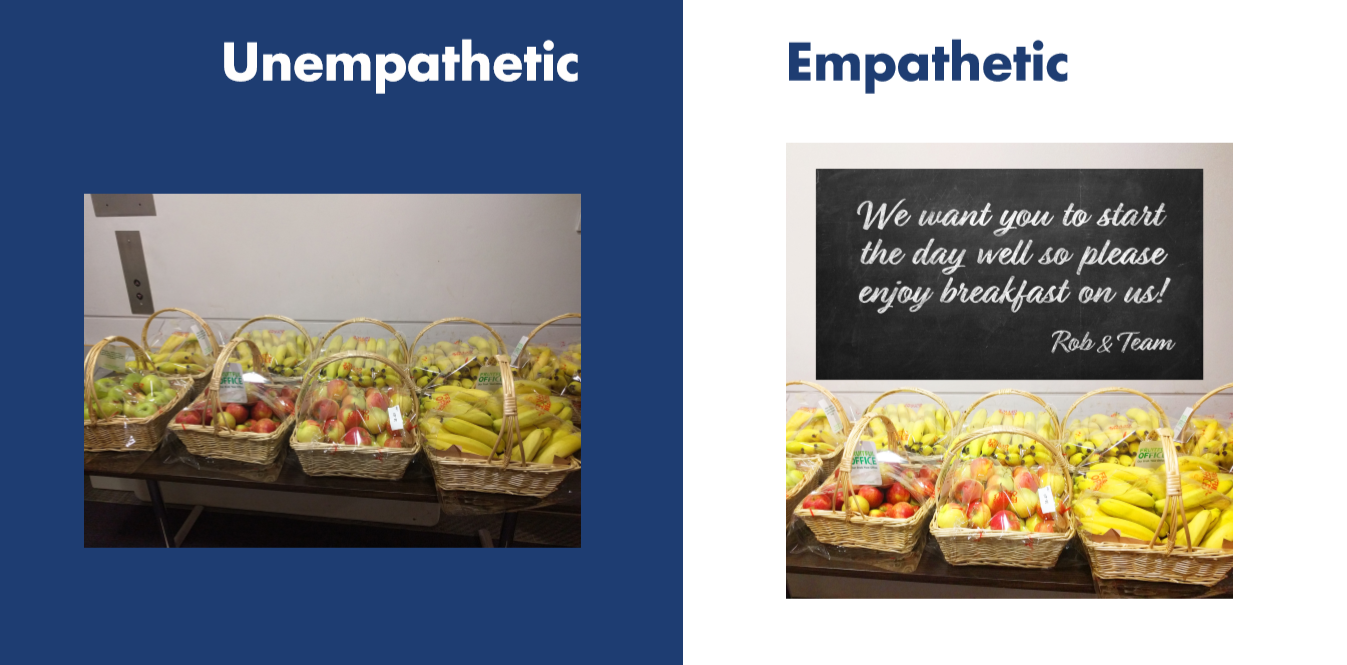 Empathy vs non empathy workplace: food