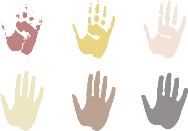 Ethnic diversity palms of hand artwork